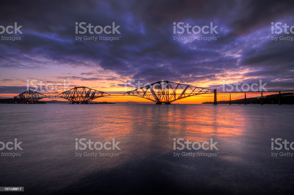 Forth Rail Bridge Sunrise. stock photo