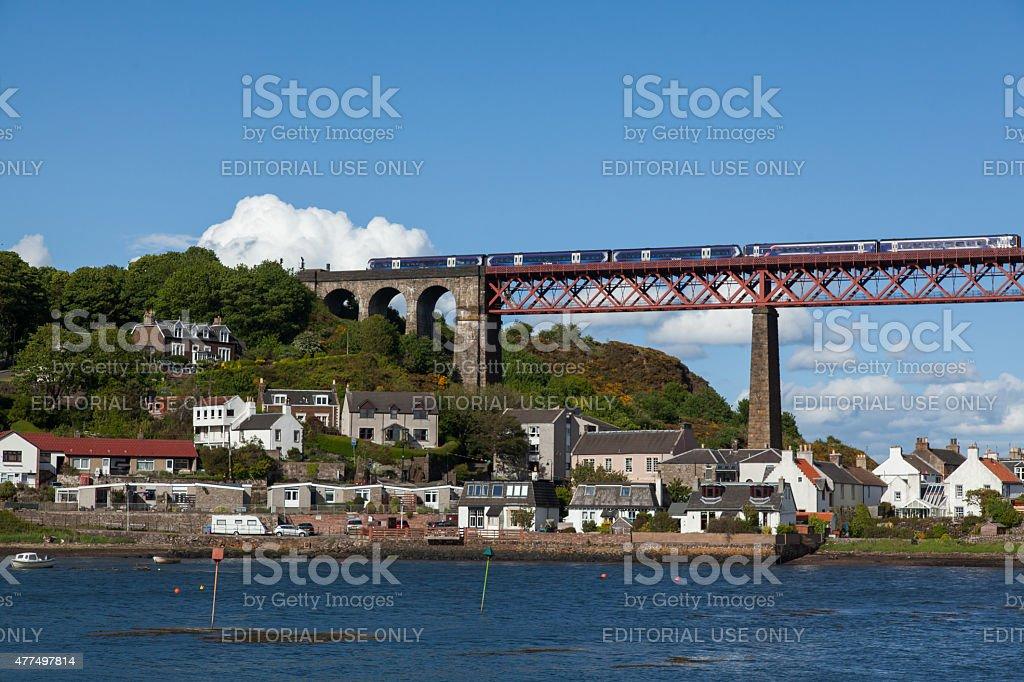 Forth Rail Bridge with a ScotRail train stock photo