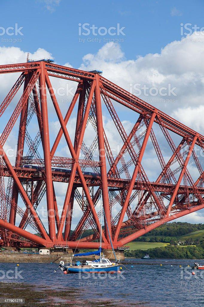 Forth Rail Bridge with a train. stock photo