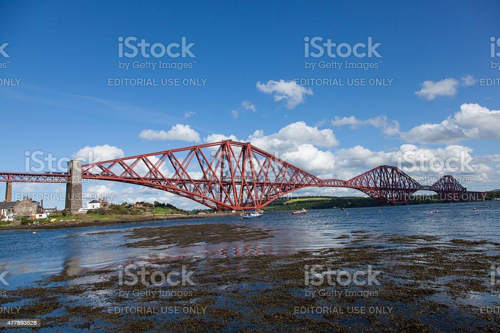 Forth Rail Bridge with a train. ScotRail Service in Scotland. stock photo