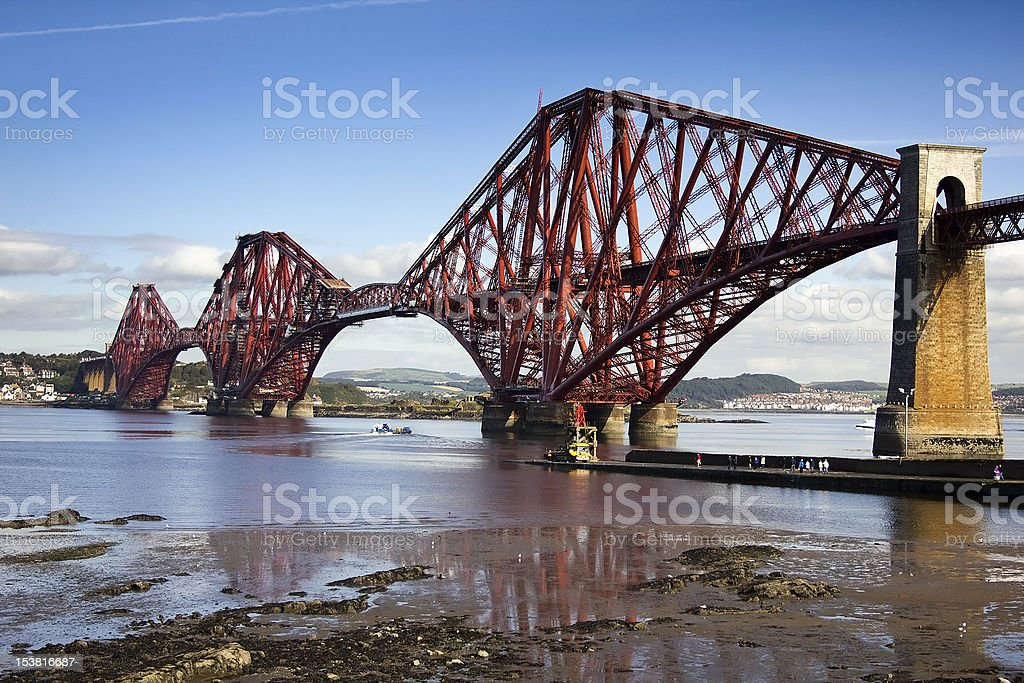 Forth Rail Bridge With Support Tower stock photo