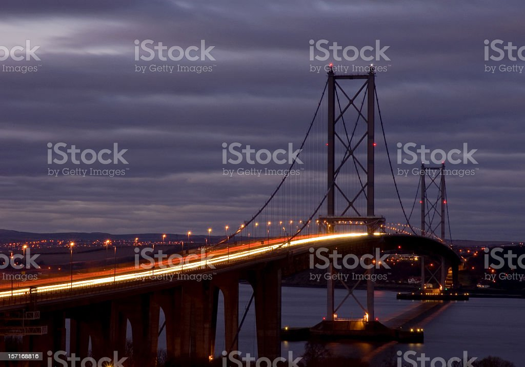Forth Road Bridge at Dusk stock photo