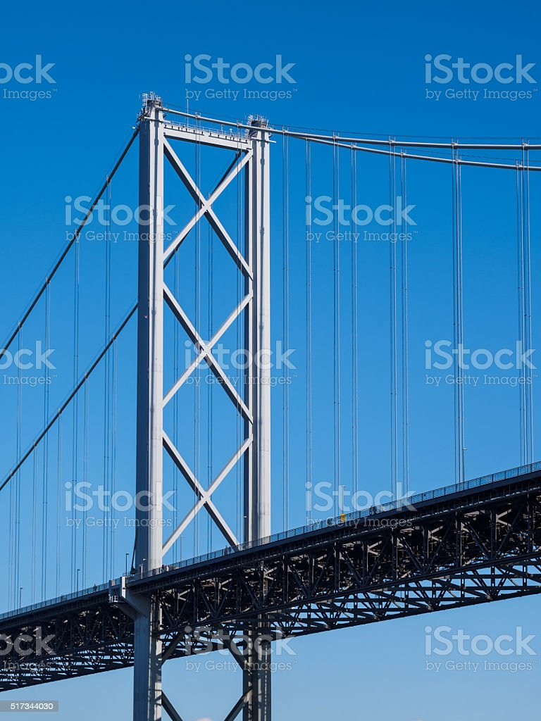 Forth Road Bridge detail. stock photo