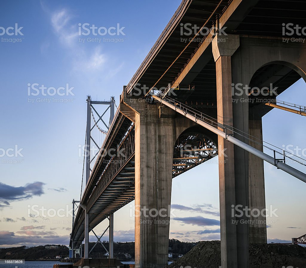 Forth Road Bridge from Below stock photo