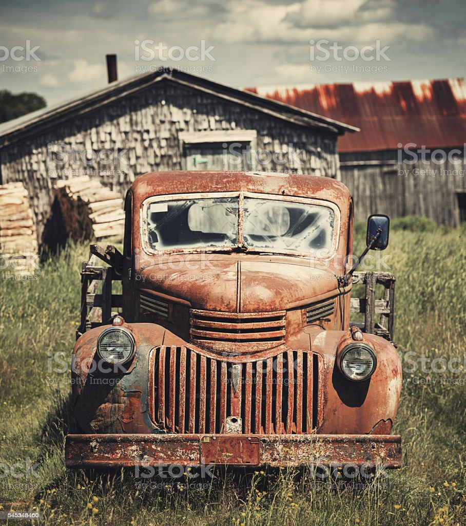 Forties Farm Truck stock photo