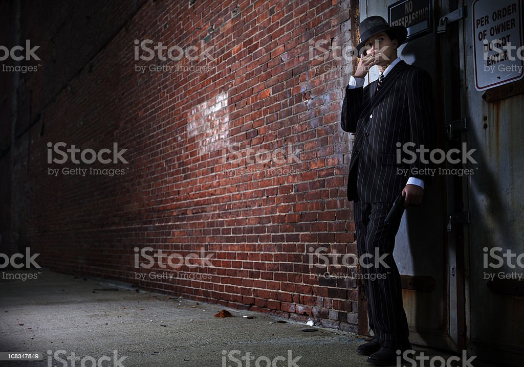 Forties style film noir gangster stock photo