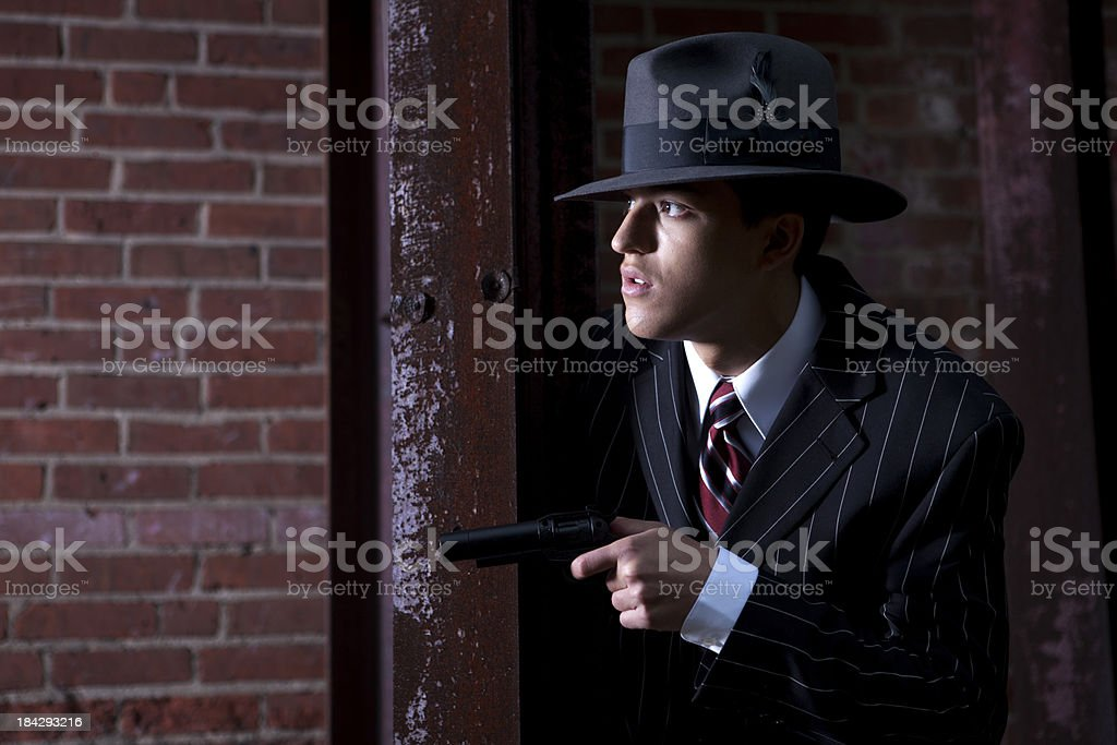 Forties style gangster on the alert royalty-free stock photo