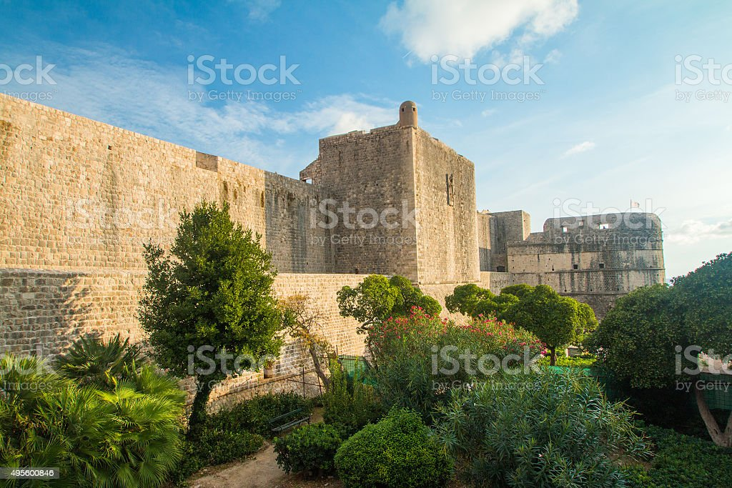 Fortification wall of Dubrovnik, UNESCO Site stock photo