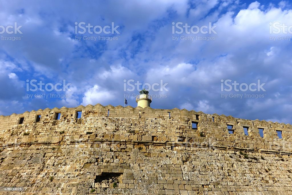 Fortification walls outside Rhodes stock photo