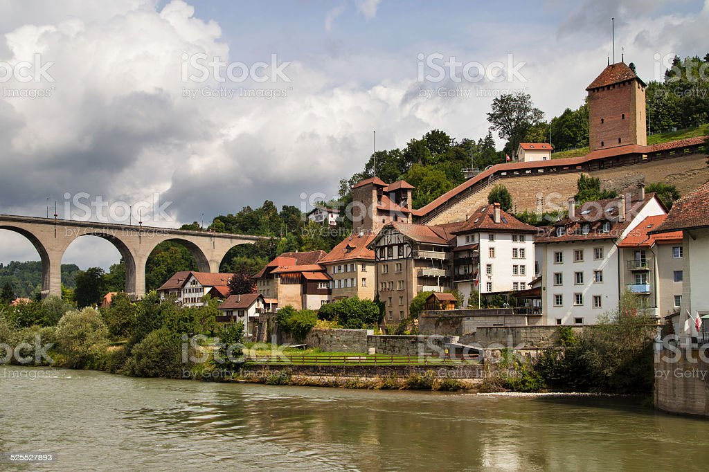 Fortifications of Fribourg stock photo