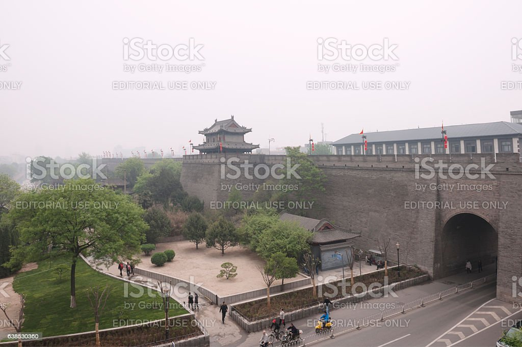 Fortifications of Xi'an or Xi'an City Wall stock photo