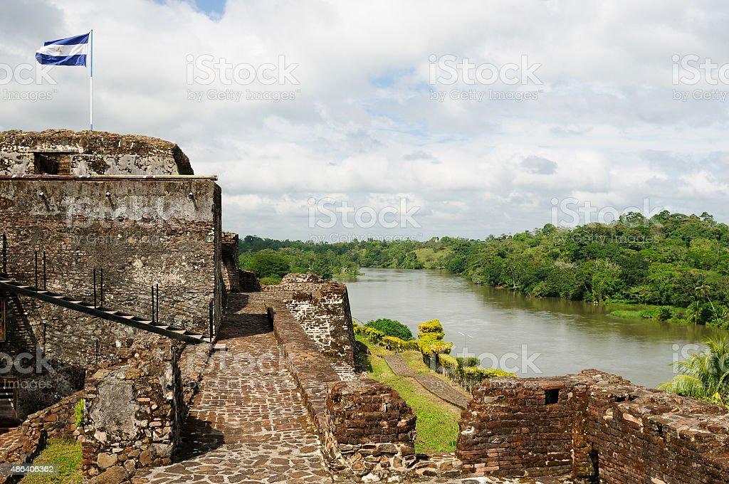 Fortified castle in El Castillo in Nicaragua stock photo