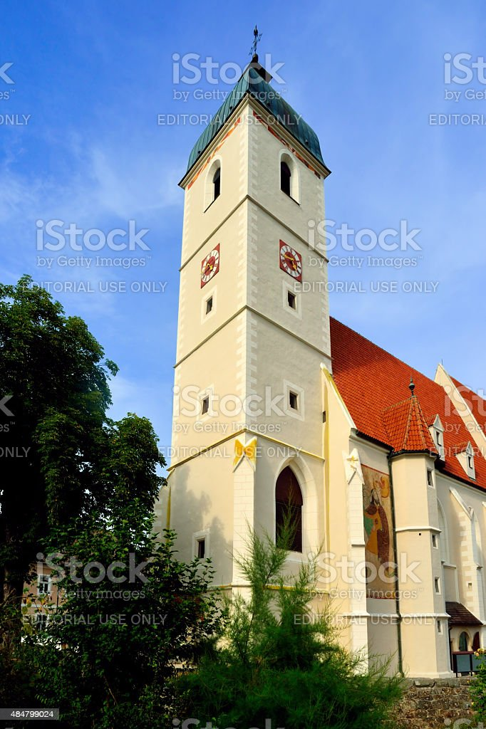 Fortified church in Kirchschlag stock photo