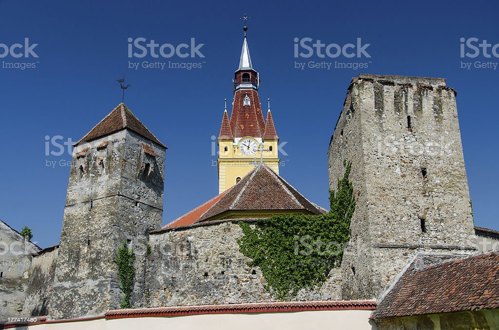 Fortified church in Transylvania royalty-free stock photo