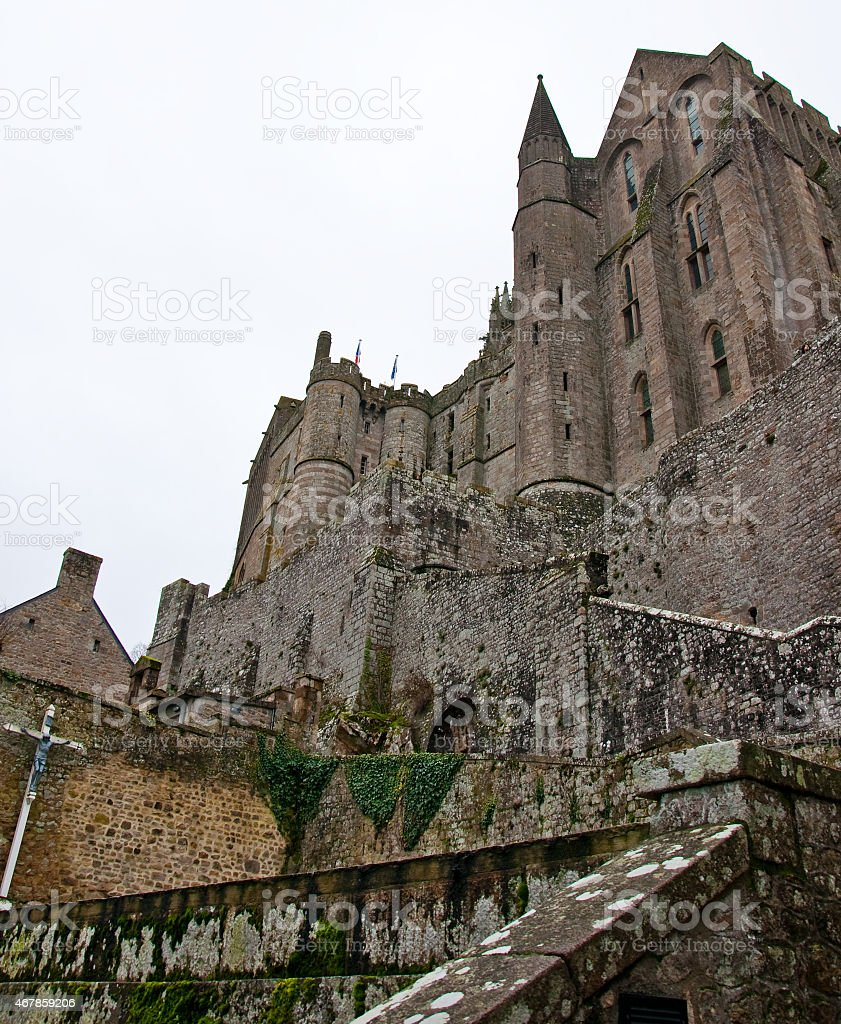 Fortified entrance of the abbey. Saint Michel Mountain. France. stock photo