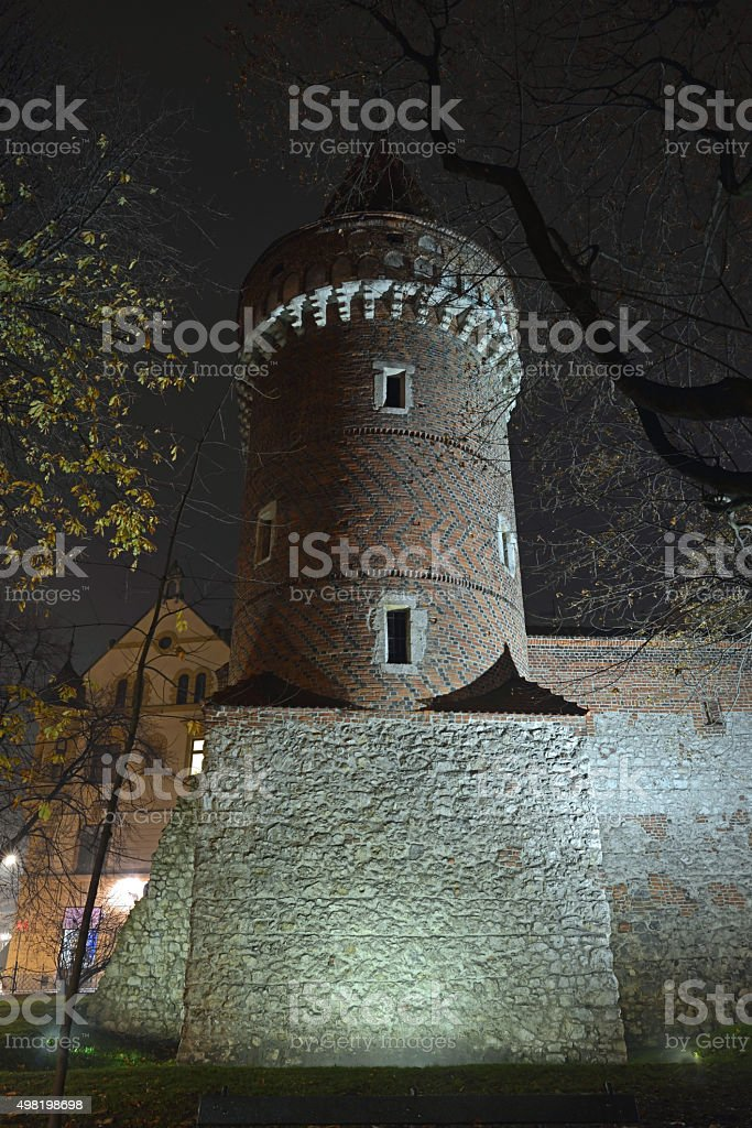 Fortified, Gothic tower, Krakow, Poland stock photo
