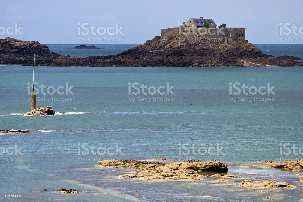 Fortified island off Dinard stock photo