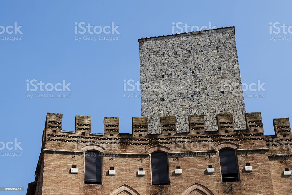 Fortified Medieval Houses in the City of Siena, Tuscany, Italy royalty-free stock photo