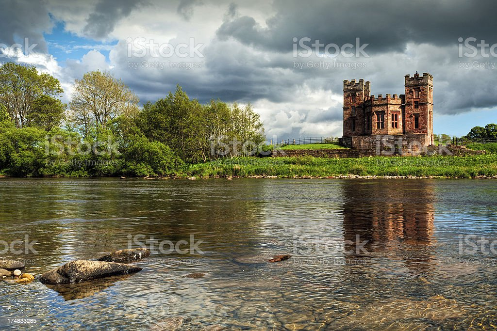 Fortified salmon coop, River Esk, Netherby, Longtown, Cumbria royalty-free stock photo