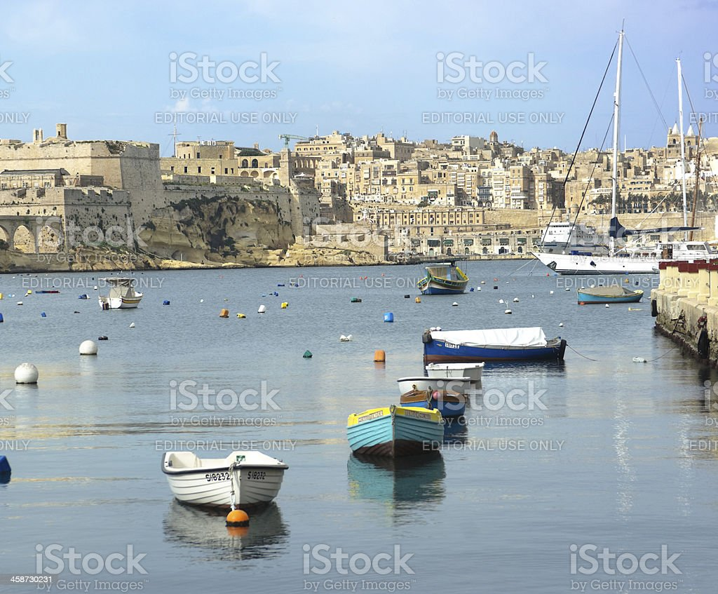 Fortified Skyline Of The Old Valletta royalty-free stock photo