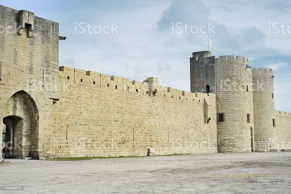 Fortified town of Aigues-Mortes, Camargue, France royalty-free stock photo