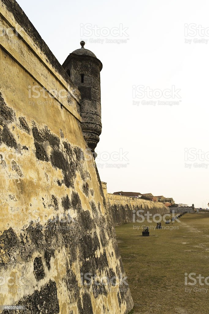 Fortified wall in Cartagena royalty-free stock photo
