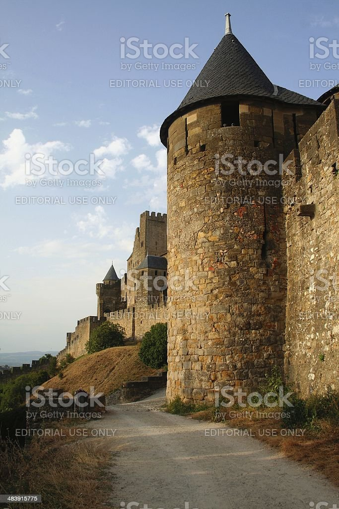 Fortified wall of Carcassonne France stock photo