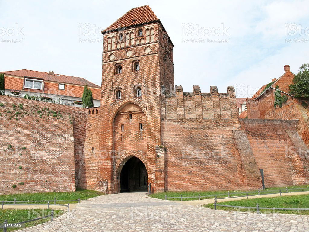 Fortified Wall of Tangermünde at Elbe River(Germany) stock photo