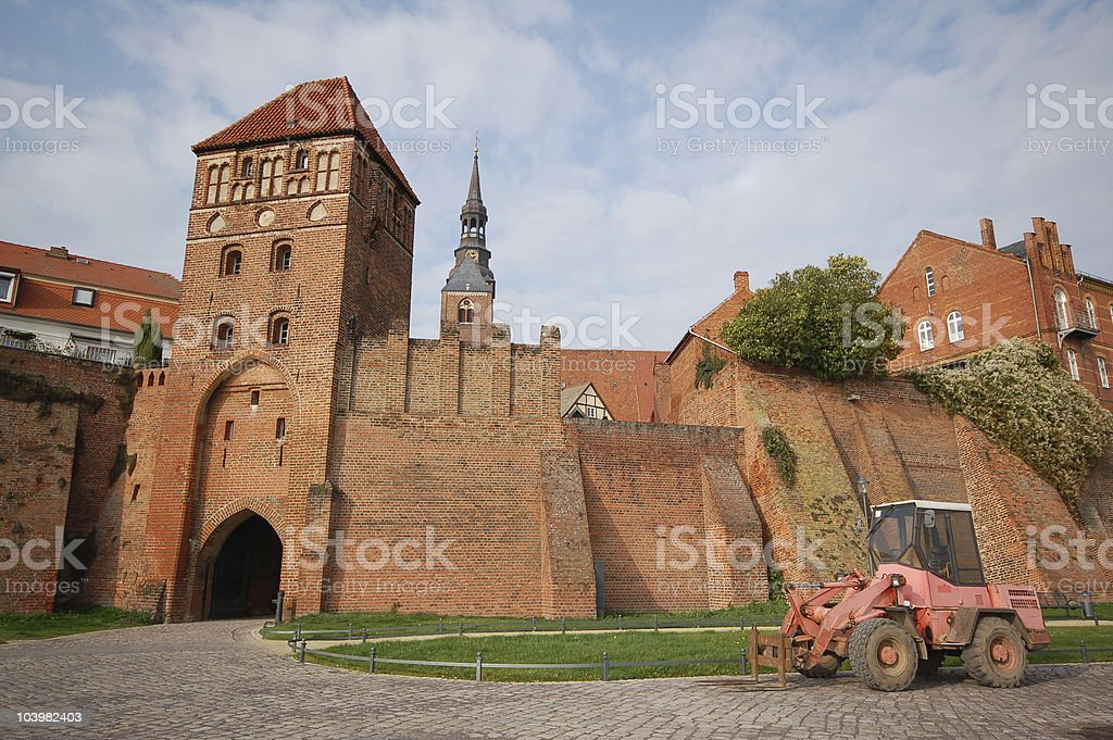Fortified Wall of Tangermünde (Germany) stock photo
