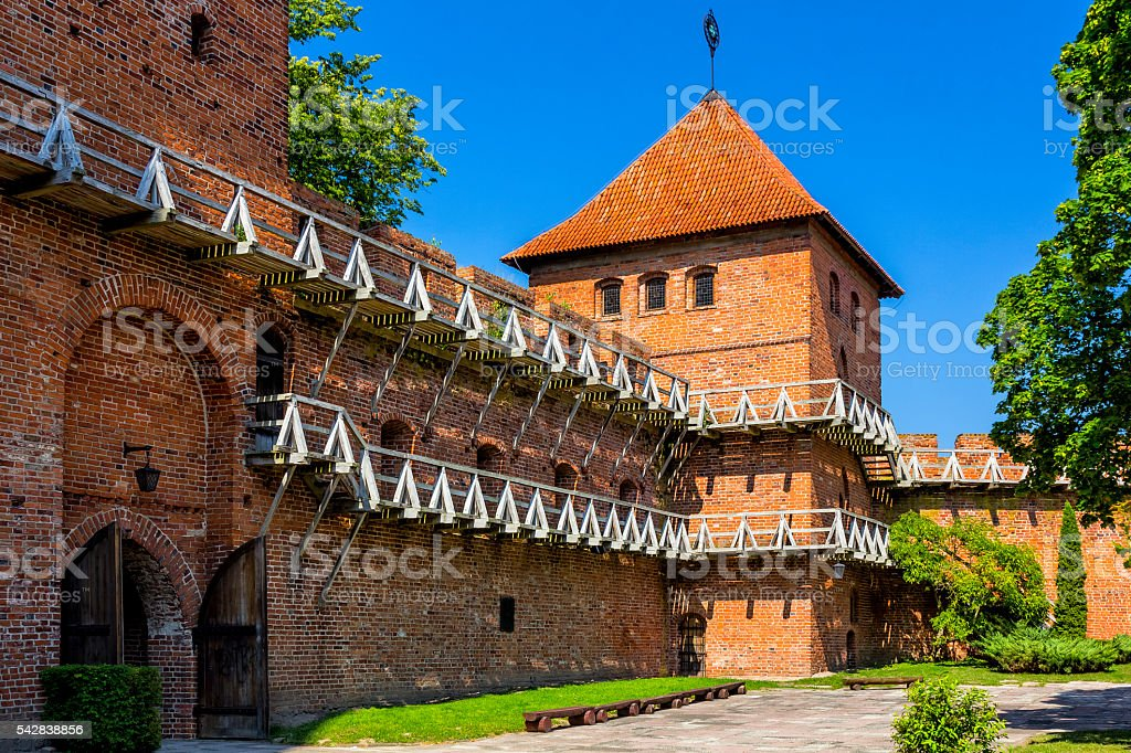 Fortified walls in Frombork, Poland stock photo