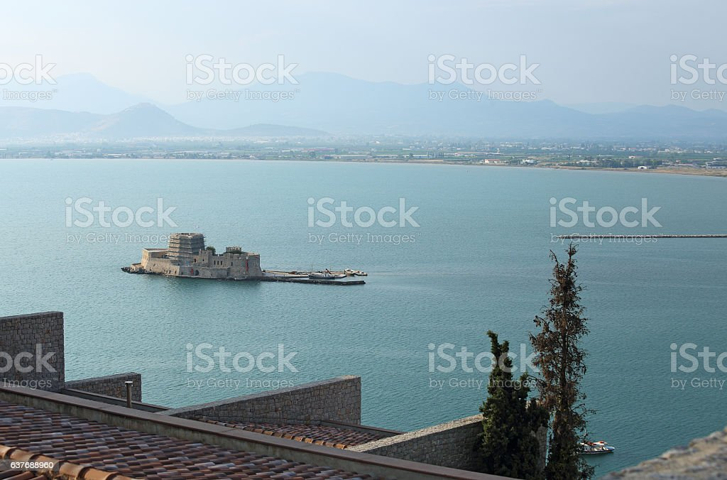 fortress and old prison, Bourtzi, in Argolis bay, Nafplio, Greece stock photo