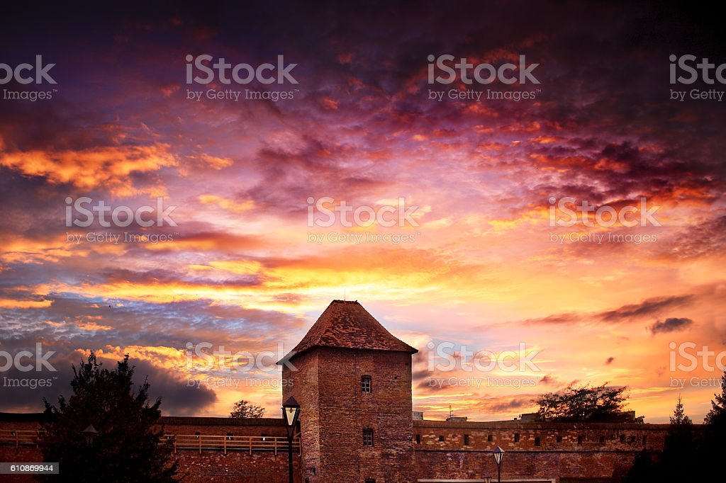 fortress at the evening stock photo