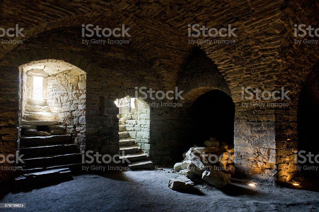 Fortress built from limestone. Maasi stone castle ruins, Estonia, Europe stock photo