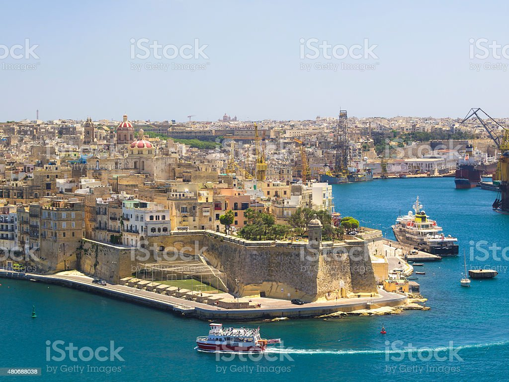Fortress City Senglea from Valetta, Malta stock photo