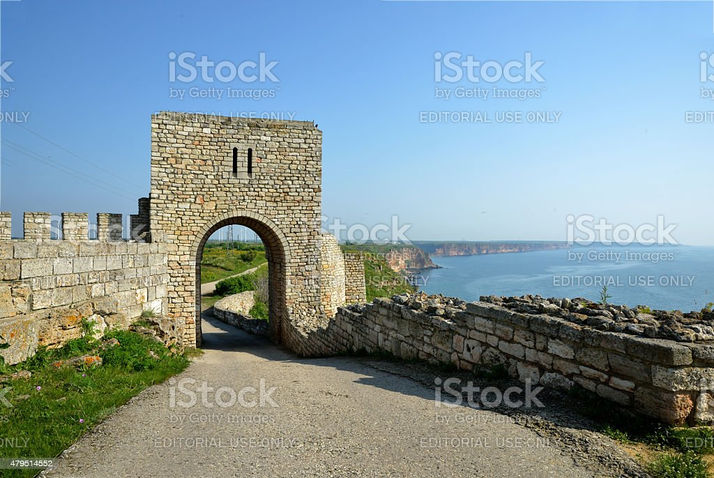 Fortress gate from inside stock photo