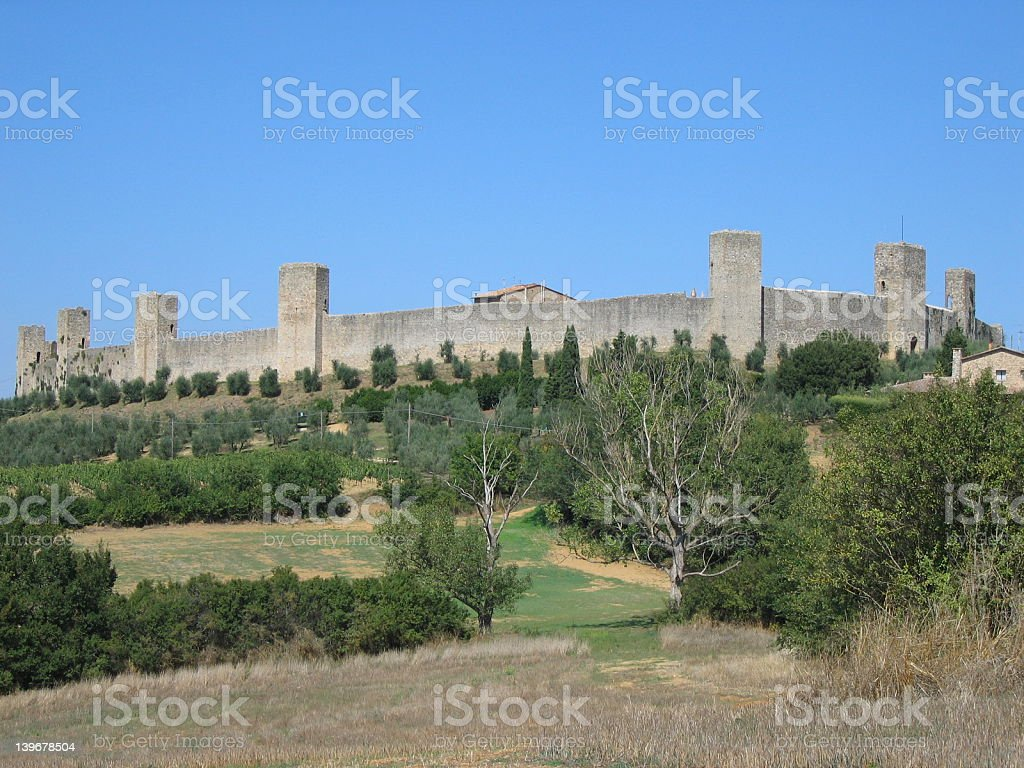 Fortress hill-town in Tuscany royalty-free stock photo