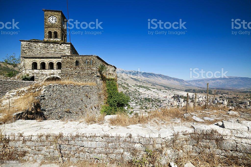 Fortress in Gjirokastra, Albania stock photo