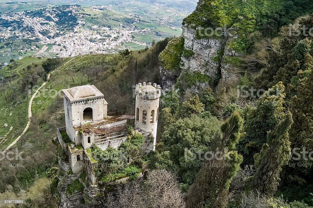 Fortress in the Village of Erice stock photo