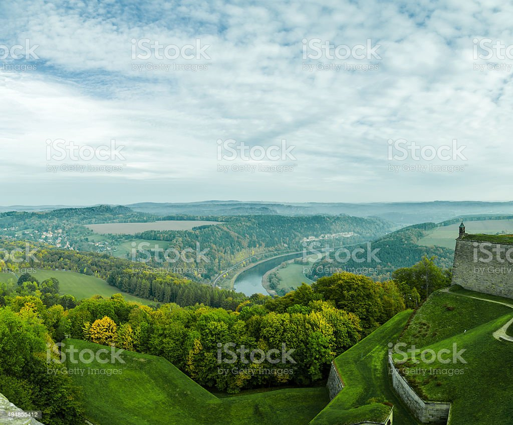 Fortress 'Koenigstein' and the Elbe Valley, Saxony, Germany stock photo