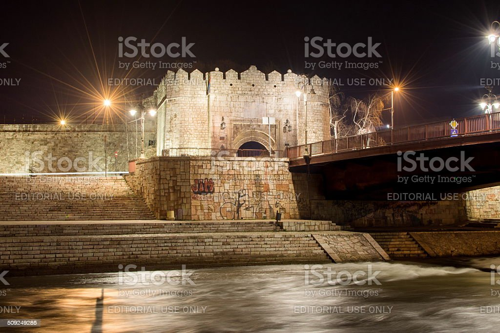 Fortress of Nis in the dark stock photo