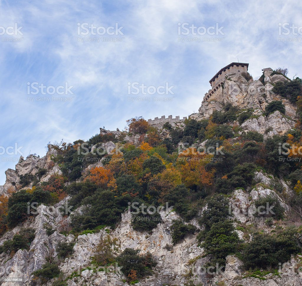 Fortress on top of the mountain. stock photo