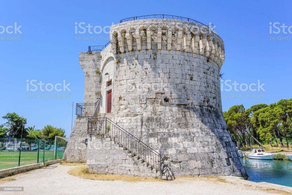Fortress stone ancient tower. Trogir, Croatia stock photo