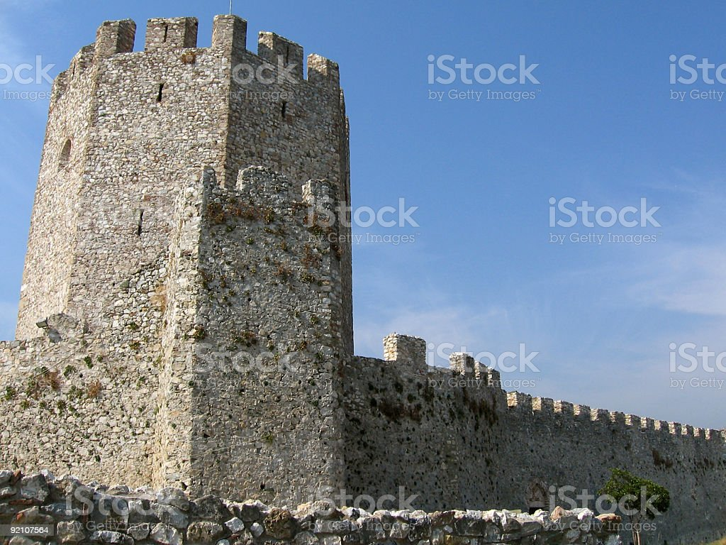 Fortress tower - Platamon Castle royalty-free stock photo