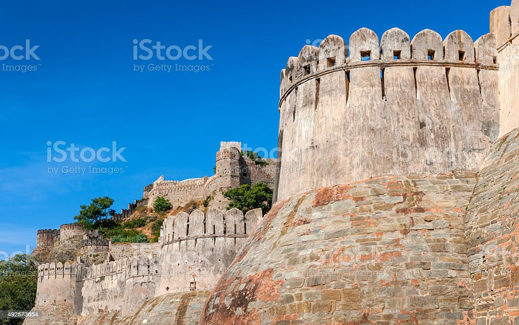 Fortress wall in the Kumbhalgarh fort, Rajasthan, India stock photo