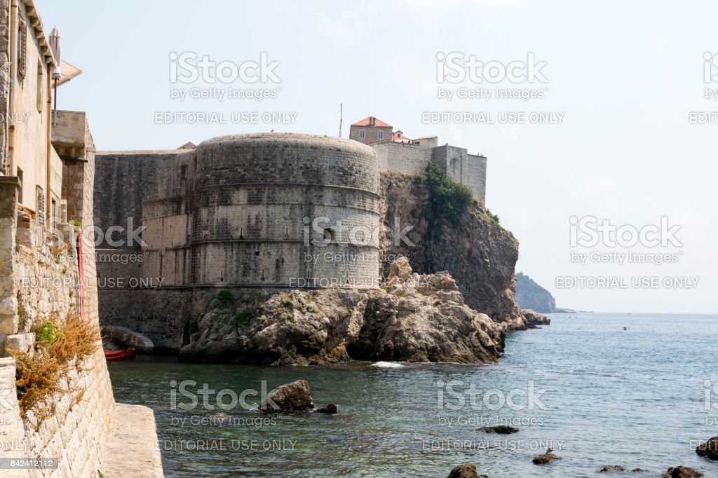 Fortress walls of the city of Dubrovnik, Croatia. stock photo