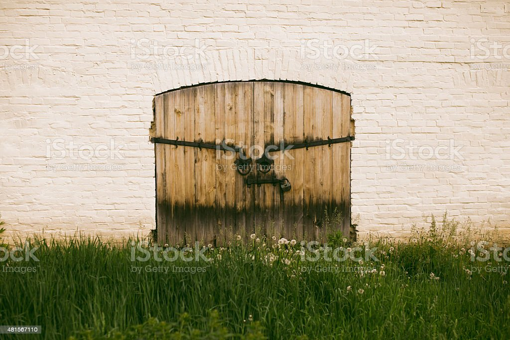 fortress wooden gate stock photo