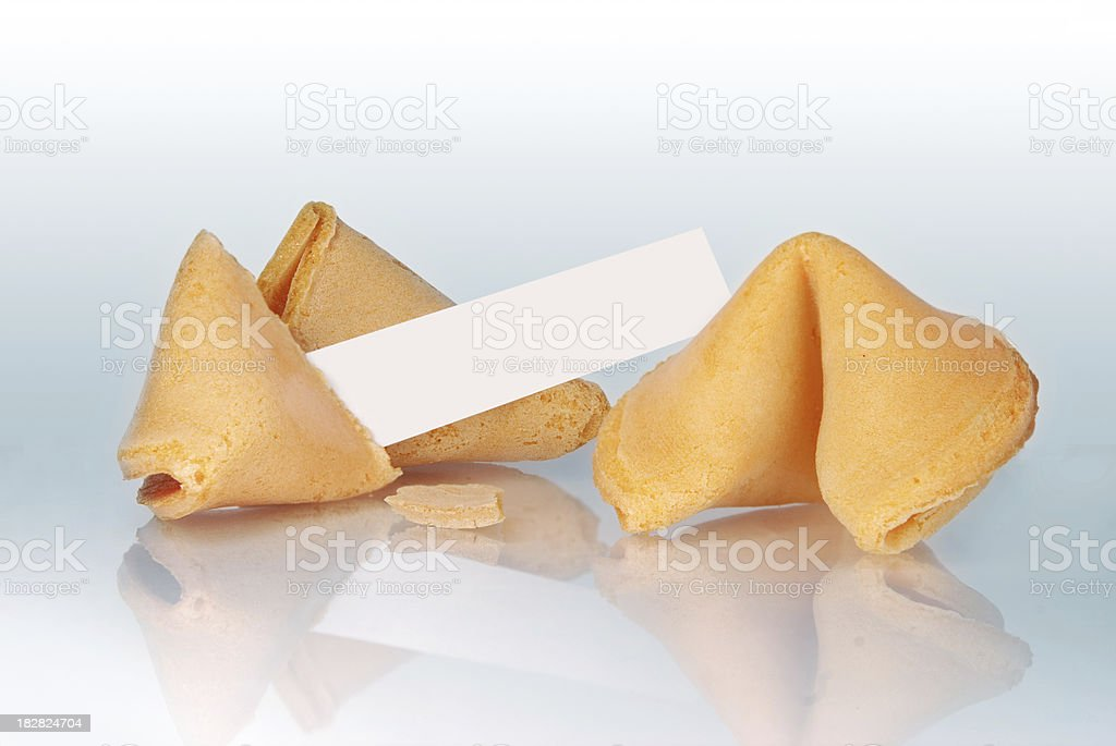 Fortune Cookie and Blank Paper Strip royalty-free stock photo