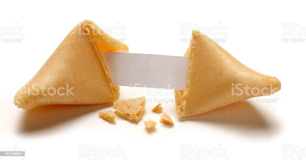 Fortune Cookie Broken Open Revealing Blank Fortune stock photo