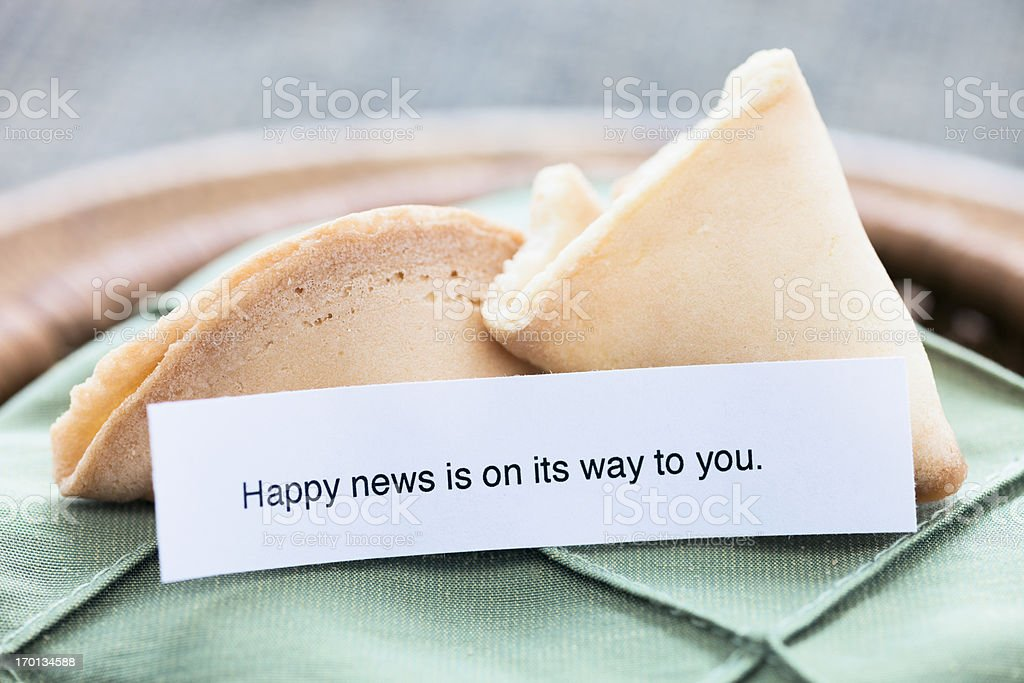 Fortune Cookie: Happy news is on its way to you royalty-free stock photo