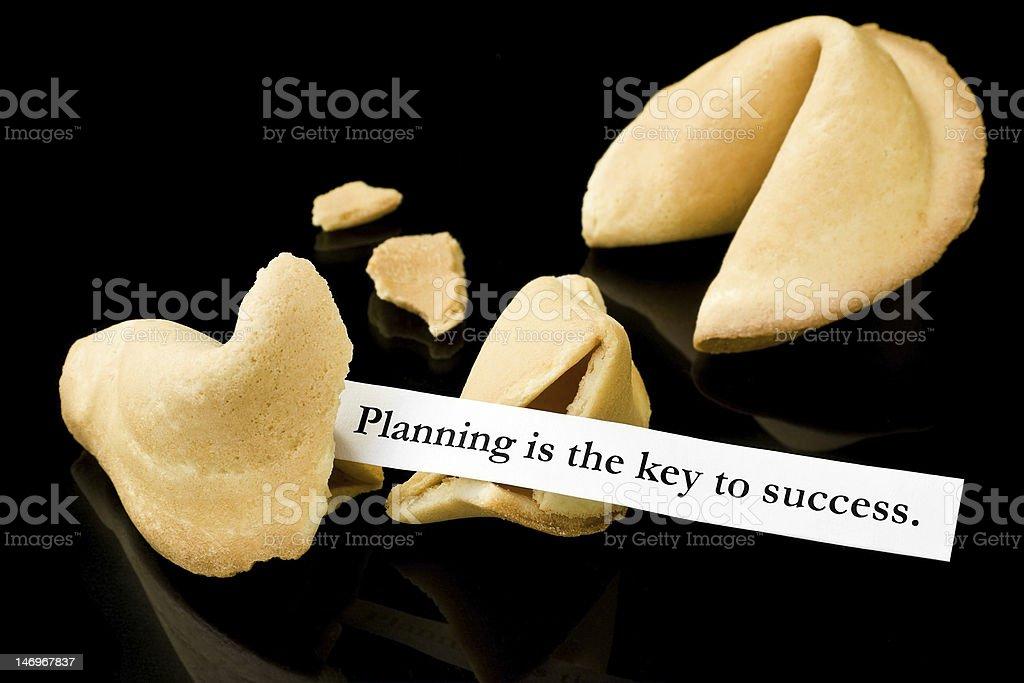 """Glückskeks: """"Planung ist der Schlüssel zum Erfolg."""" Lizenzfreies stock-foto"""